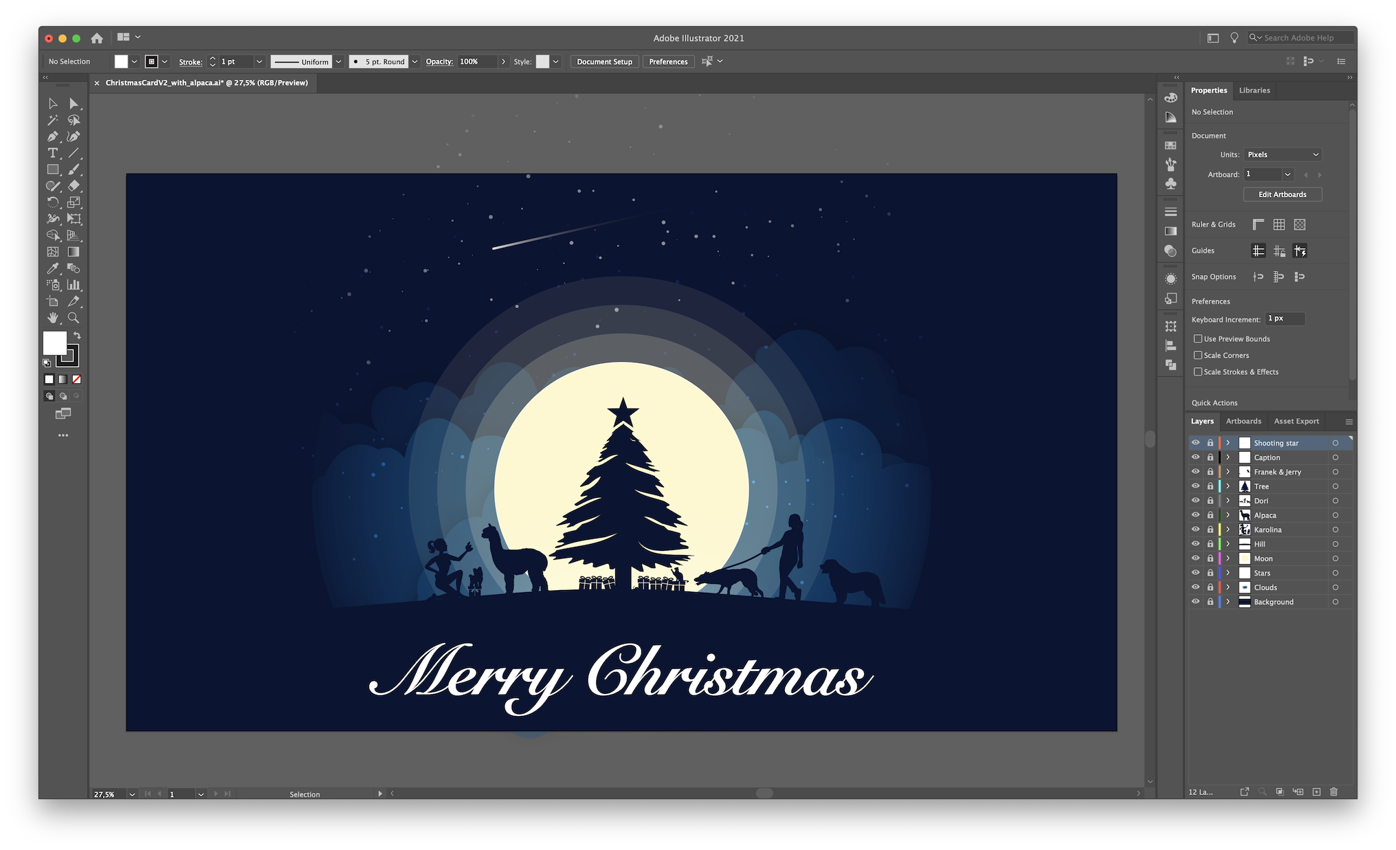 The Christmas Card artwork in Adobe Illustrator